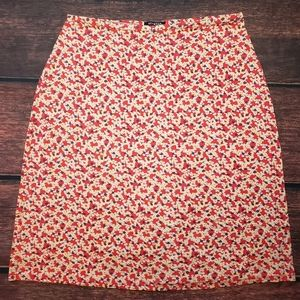 GAP   Red floral A-line skirt